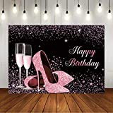 Glitter Rose Gold Happy Birthday Party Backdrop Shiny High Heels Champagne Glass Background Sweet 16th 21st Any Age Adult Women Birthday Party Decorations Photo Booth Props 7x5ft