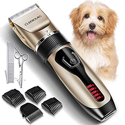 CLEEBOURG Dog Clippers Grooming Kit, Professional Electric Pet Clipper Low Noise Rechargeable Cordless Pet Hair Trimmer for Dogs Cats Pets