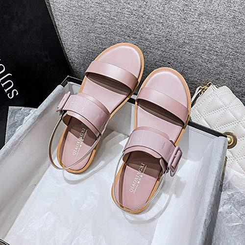 Nwarmsouth Tongs Sandales Femmes Plates,Mot d'été avec des Sandales, Chaussures Plates Plate-Forme étudiant-Rose Clair_40,Extérieur Bain Sandal