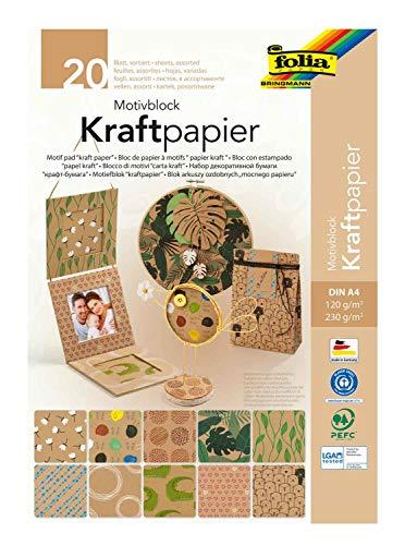 folia 48898 Motivblock Kraftpapier, DIN A4, 20 Blatt sortiert in 2 Grammaturen (120 und 230 g/m²) und 10 Motiven, zum Basteln und Gestalten, Natur