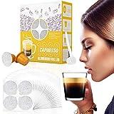 CAPMESSO Filtros Cápsulas de Café compatibles con Nespresso+ Tapas de Papel de Aluminio Autoadhesivas (1000 vainas + 6 Tapas + Cuchara)