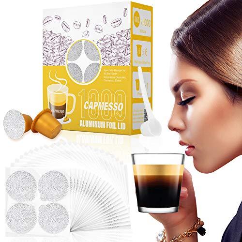CAPMESSO Feuilles d'Espresso et Capsules Rechargeables-couvercles à Capsules doseuses compatibles avec Les Machines Nespresso Original Line (couvercles 1000pcs + pods 6 pcs)