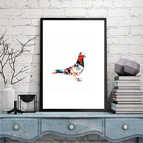Aquarel vredesduif impressionistische vogeltje print canvas schilderij moderne abstracte muur poster Home decor B 42x60cm geen frame