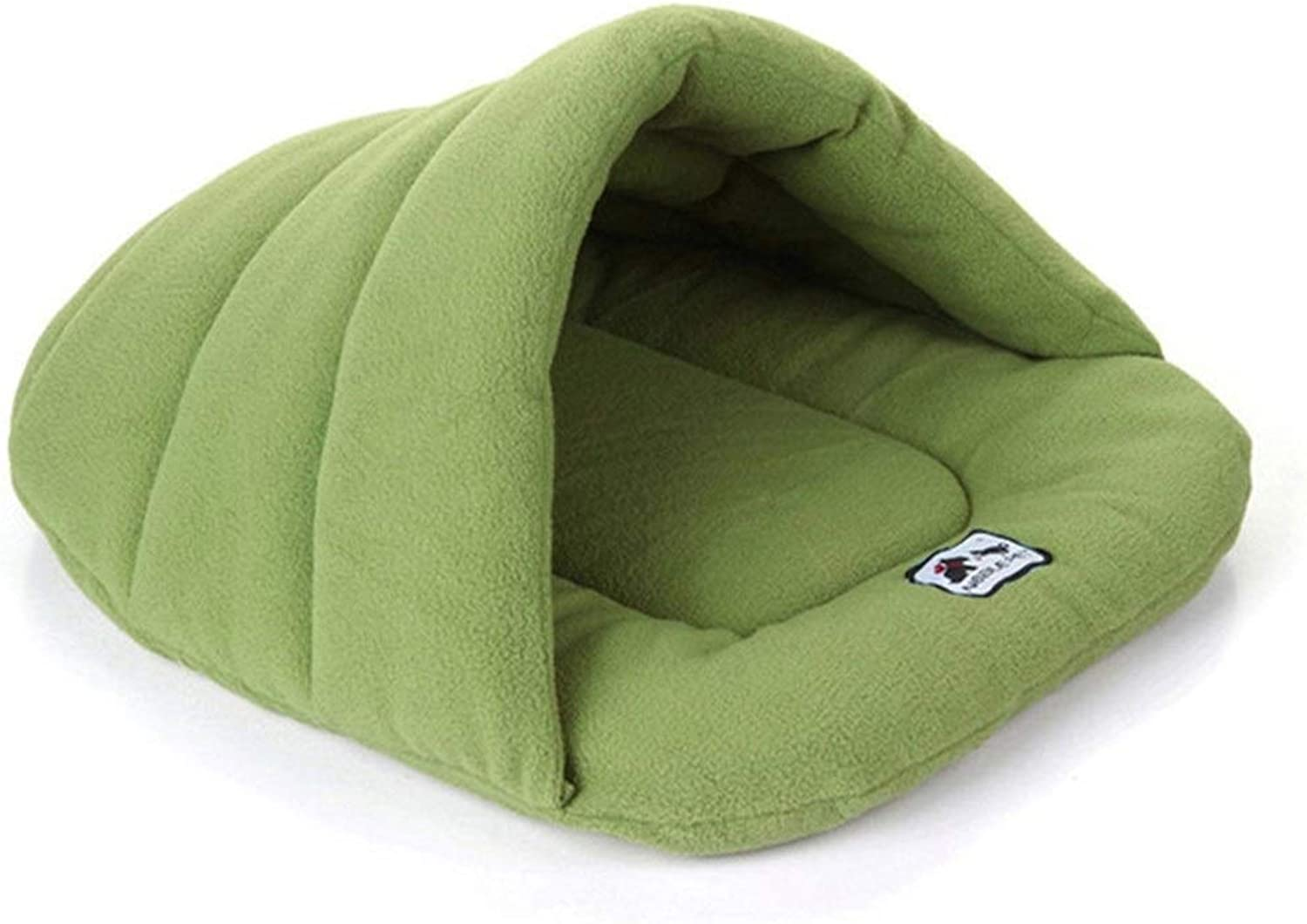 BeTTi Warm Sleeping Fleece Dog Bed 6 colors Soft Material Keep Warming Dog nest Pet Cat Small Dog Puppy Sleeping Bag (color   Green, Size   XS)
