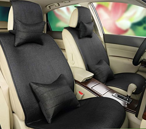 ANKIV Black FULL SET Universal Fit 5 Seats Car All Seasons Fit Removable Linen Car Seat Covers Cushions with 2 Waist Pillows 2 Neck Pillows