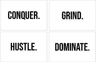 Damdekoli Hustle Dominate Grind Conquer Posters, 11x17 Inches, Set of 4, Motivational Wall Art, Entrepreneur Decor, Inspirational Print, Gym Training Fitness, Hustling White