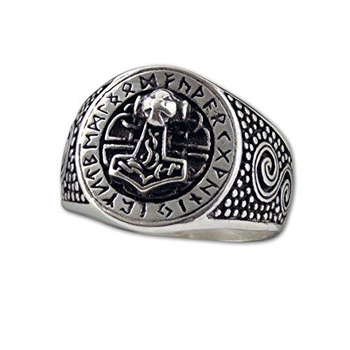 Ring Thors Hammer mit Runen 925 Sterling Silber (65 (20.7))