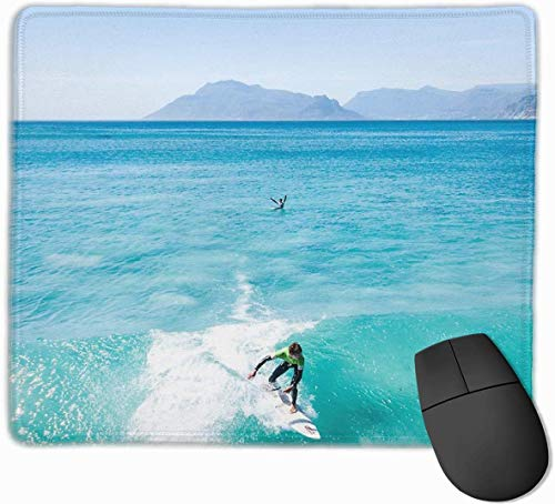 Surfer Het vangen van een Crystal Clear Wave Drone Shot Gaming Mouse Pad Antislip Rubber Mousepad voor Computers Desktops laptop Muis Mat 9.8
