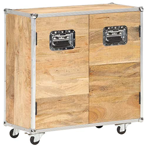Irfora Retro-Sideboard Aufbewahrungsschrank Industrial Kommode Holz Schubkastenkommode mit Rollen mit 2 Türen 70x30x69 cm Mango-Massivholz