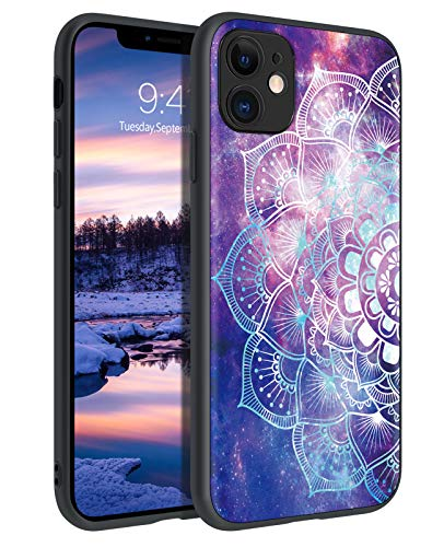 GUAGUA Compatible with iPhone 11 Case Glow in The Dark Noctilucent Luminous Mandala Flowers Space Nebula Slim Cover Protective Cases for iPhone 11 6.1-inch Purple