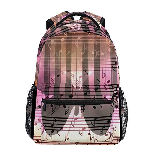 Boy School Book Bag,College Backbag,Kids/Adult Laptop Backpack,Unisex Multifunction Rucksack,Girl Casual Daypack,Men/Women Travel Knapsack,Music Notes Butterfly