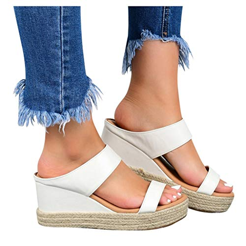 Aniywn Wedge Sandals for Women Open Toe Slip-On Summer Slides Sandals Casual Comfort Platform Wedge Sandals White