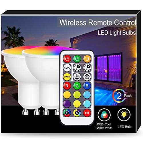 LED-Strahler GU10 Lampe I 2er Set I 5 Watt I 400 Lumen I RGBCW I Mehrfarbig dimmbar I A+ I inklusive Fernbedienung