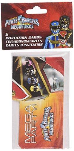 amscan Power Rangers 6-Invitations 14cm x 8cm und Umschläge