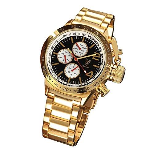 Konigswerk Mens Gold Bracelet Watch Black Dial Large Face Multifunction Day Date Reloj Dorado y Negro Wacht for Men