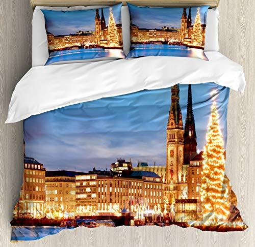 ABAKUHAUS Winter Dekbedovertrekset, Hamburg Duitsland Old Town, Decoratieve 3-delige Bedset met 2 Sierslopen, 200 cm x 200 cm, Blauw Oranje Bruin