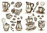 dekodino® Sticker mural tasses à café et couverts à café cuisines déco
