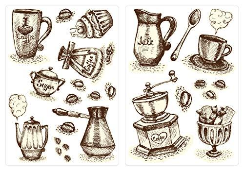 dekodino® Wandtattoo Kaffeetassen und Kaffebesteck Set Küchen Esszimmer Deko