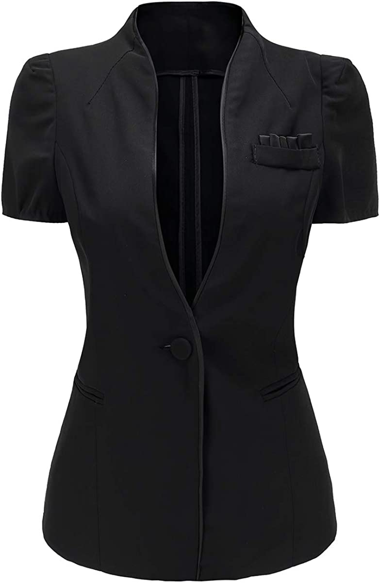 Women's Short Sleeve One Button Shrug Blazer Jacket Summer Suit