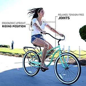 "sixthreezero Around The Block Women's Single-Speed Beach Cruiser Bicycle, 26"" Wheels, Mint Green with Black Seat and Grips"