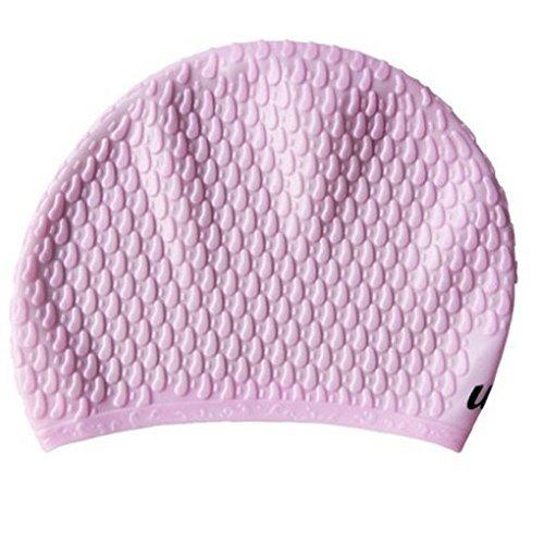 Ma-on Coque en silicone Unisexe adultes respirant étanche Soin des Cheveux Ear protection Bonnet de bain (Rose)