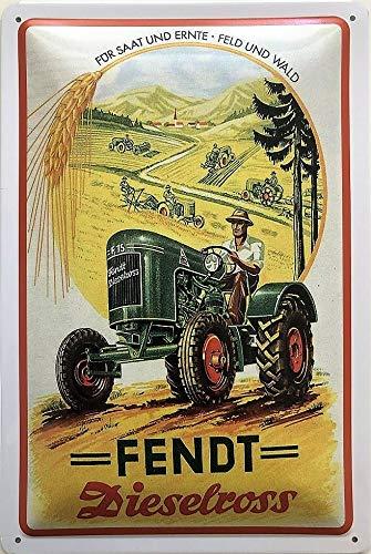 Deko7 Blechschild 30 x 20 cm für Saat und Ernte Feld und Wald Fendt Dieselross