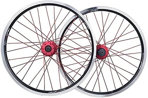 LLLKKK Rueda de bicicleta plegable 20 pulgadas BMX rueda de bicicleta doble capa aleación llanta disco/V- freno QR 7-10 velocidad 32H bicicleta delantera y trasera ruedas