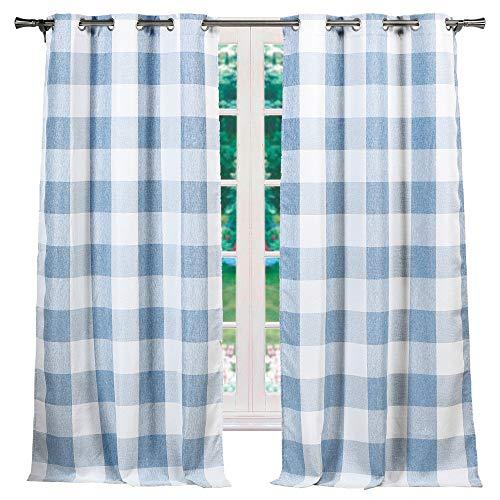 Elegant Linens Buffalo Plaid Gingham Check Farmhouse Curtains - Window Blackout Room Darkening Drapes for Bedroom & Living Room - Set of 2 Panels (Blue, 37x84)