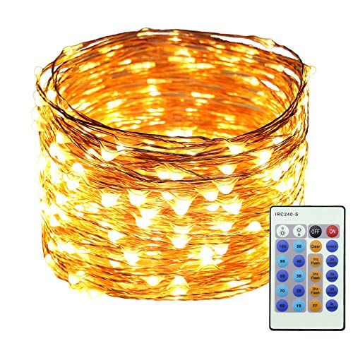 Erchen LED String Lights, 100 FT 30M 300 LED Plug in Dimmable Copper Wire Fairy Lights with 12V Power Adapter Remote Control for Wedding Christmas Party Bedroom (Warm White)