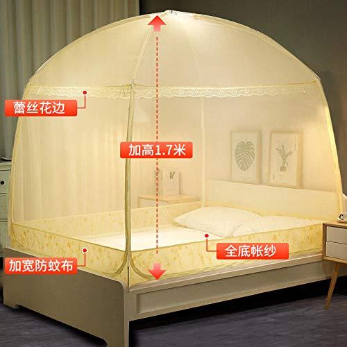 Mosquito net home textile, yurt mosquito net bold bracket, three-door door zipper section, bracket mosquito net bed curtain-yellow_1.2m bed
