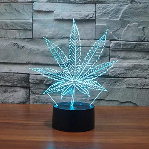 Lámpara de noche infantil LED con forma de pera, luz nocturna nocturna, con USB, diseño de hoja de arce, 3D, lámpara de ilusión visual transparente, regalo para niños