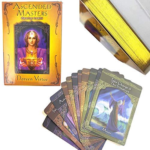 Ascended Masters Oracle Tarjetas, 44 Juegos de Tarjetas de Tarot de Oro Juegos de Mesa Conjuntos de Cartas Divertidos (con Instrucciones)