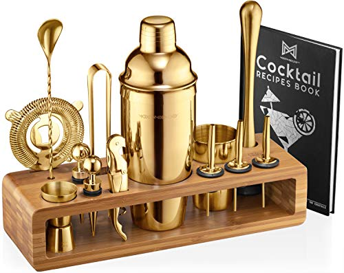 Mixology Bartender Kit 23-Piece Bar Set Cocktail Shaker Set with Stylish Bamboo Stand  Perfect for Home Bar Tools Bartender Tool Kit and Martini Cocktail Shaker for Awesome Drink Mixing Gold