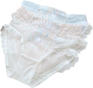 [アビコ] ABICO レディース ショーツ パンティー 3枚組 セクシー 可愛い下着 透け感 レース 刺繍 チュール生地 きれいめ おしゃれ 柔らか M-XL
