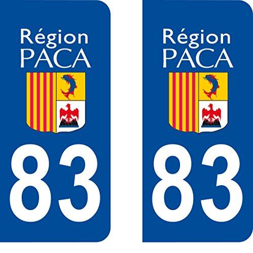 SAFIRMES 2 Stickers Autocollant Style Plaque Immatriculation département 83