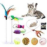Fansport 11 Piezas Juguetes para Gatos,Juguete Interactivo Gato Juguetes Gatos pequeños con Campanas y Catnip y Bolas Varias para Gatos