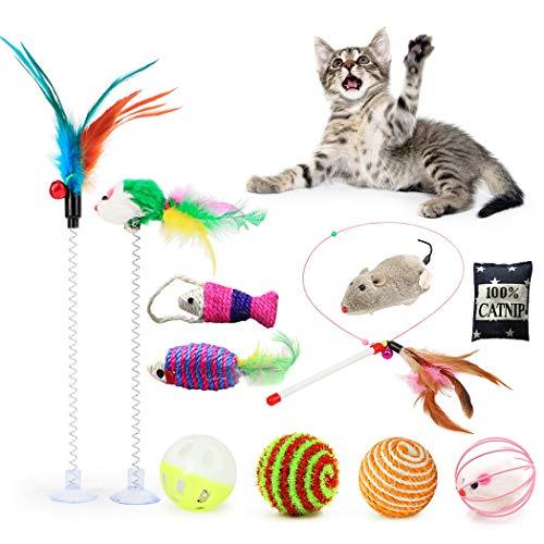Fansport 11 Stück Katzenspielzeug Set,Katze Interaktiv Toys mit Ball/Mäuse/Federn Plüschspielzeug,Spielzeug Variety Pack für Kitty