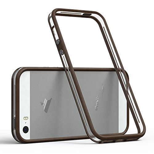 EAZY CASE Bumper kompatibel mit Apple iPhone 5 / 5S / SE (2016) Silikon Bumper kompatibel mit Apple iPhone 5 / 5S / SE (2016) - Flexible Schutzhülle als Rahmenschutz in Braun