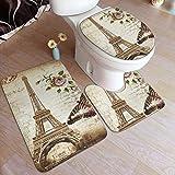 N \ A Vintage Paris Torre Eiffel Retro Flor Mariposa Baño Almohadilla Antideslizante Set 3 Piezas Suave Antideslizante Alfombrilla de Baño + Alfombrilla de Contorno + Tapa de WC