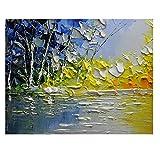 OUY Decoración De La Pared Pintura de Paisaje impresionista Abstracta Ilustraciones de Paisaje del Aceite Pintura de la Mano Decoraciones caseras (Color : 02, Size : 50x100cm)