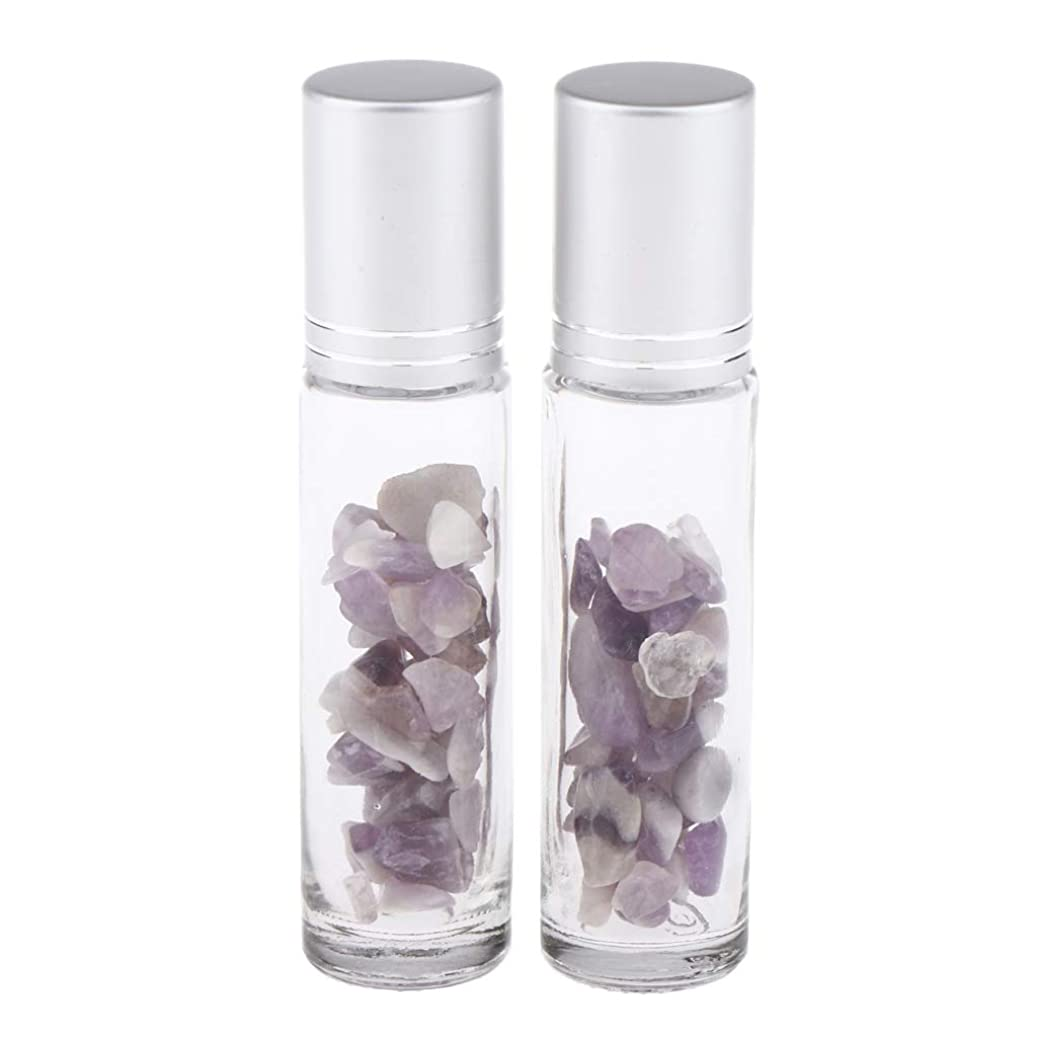 器具元の自発的chiwanji 香水アトマイザー ガラスボトル 精油瓶 天然石 ロールオンボトル 10ml マッサージ 全10種類 - アメジスト