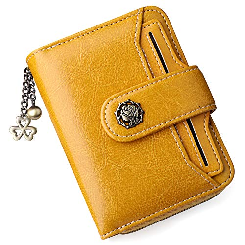S ZONE Small Womens Ladies Wallet Genuine Leather RFID Blocking Short Wallet for Women with ID Window Purse