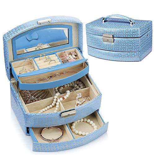 Cas Cosmétique Mme Cuir Bijoux Poignées Boîte De Rangement for Ranger De Petits Objets Tiroirs Multicouches Maquillage Voyage Boîte De Rangement (Color : Blue)
