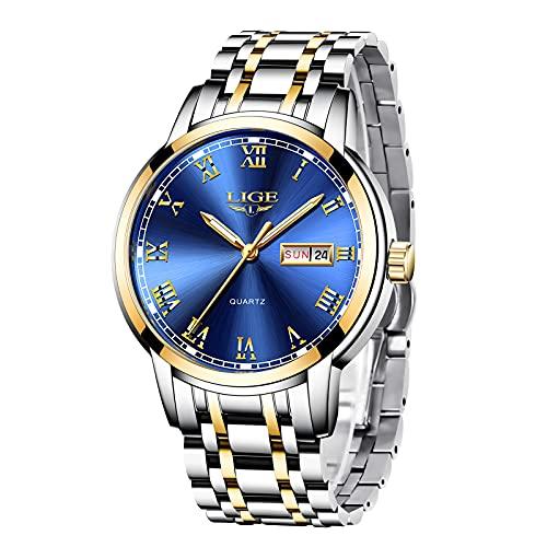 LIGE Uhren Herren Mode Edelstahl Wasserdicht Analoger Quarzuhr Auto-Kalender Geschäft Kleid Armbanduhr Maenner (Gold Blue)