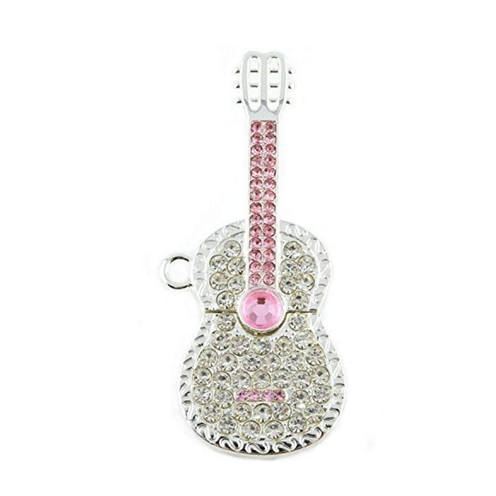 Hemore 32 GB Crystal Diamond Guitarra USB Flash Drive Pen Drive con Collar (Plata & Rosa): Amazon.es: Informática