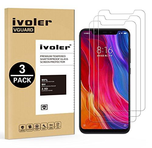 ivoler [3 Unidades] Protector de Pantalla para Xiaomi Mi 8 / Xiaomi Mi 8 Pro, Cristal Vidrio Templado Premium