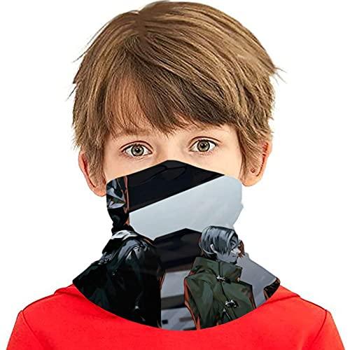 LAOLUCKY Tokyo Ghoul Tomo Polaina para cuello con 6 filtros de protección UV, bufanda de seda de hielo, bandanas a prueba de viento, transpirables para deportes al aire libre uso diario