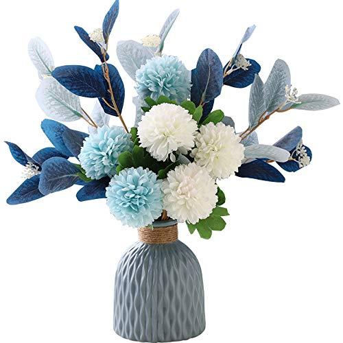 NAWEIDA Artificial Flowers with Vase Faux Hydrangea Flower Arrangements