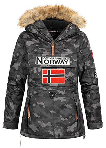 Geographical Norway Damen Winterjacke Bridget Parka Jacke Kapuze Webpelz abnb. Skijacke Camouflage, schwarz, Gr:M