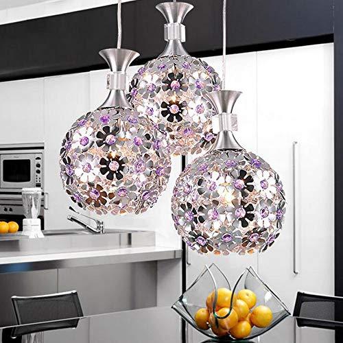 Damai LED Amatista Flores Bola Lámpara De Techo Luz Cálida Luz Plata Cristal Hardware Araña Comedor Sala De Estar Dormitorio De Estudio Simple Personalidad Moderna